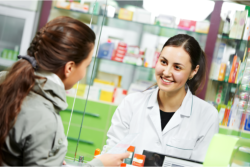 Costumer is talking to the pharmacist